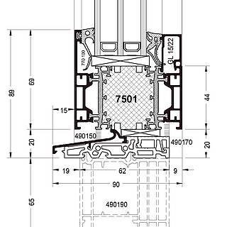 Festverglasung Seitenteil Fußpunkt mit Rahmen 7501 und Schwelle 490150