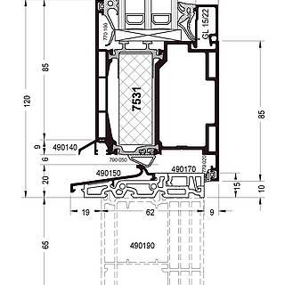 Türflügel nach innen öffnend mit Schwelle 490150