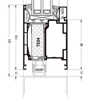 Türflügel nach innen öffnend, Sockel 7534 stumpf, autom. Bodendichtung