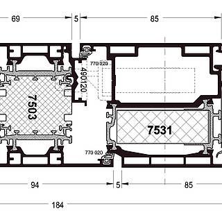 Türflügel nach innen öffnend mit Rahmen 7503