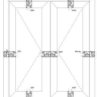 2-flügelige nach innen öffnende Tür mit durchgehender Schwelle