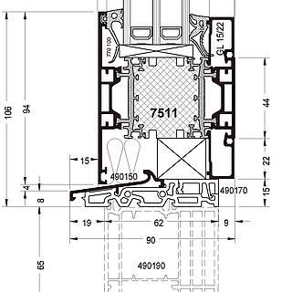 Festverglasung Seitenteil Fußpunkt mit Pfosten 7511 und Schwelle 490150