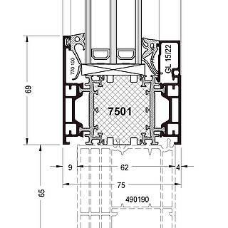 Festverglasung Seitenteil Fußpunkt mit Rahmen 7501