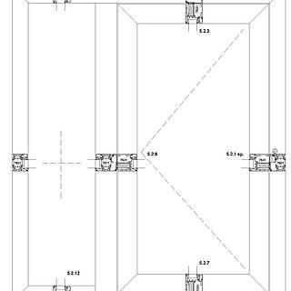 1-flügelige nach innen öffnende Tür mit Rahmen 7501 unten im Seitenteil, Schwelle falzverschraubt