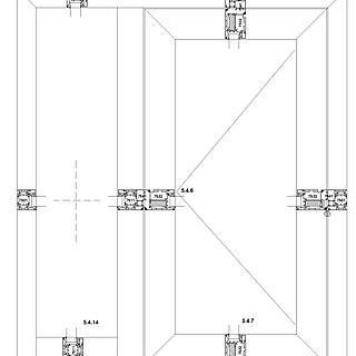 1-flügelige nach außen öffnende Tür mit Wechselprofil 7541 und Rahmen 7511 unten im Seitenteil,durchgehende Schwelle