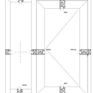 1-flügelige nach außen öffnende Tür mit Rahmen 7501 unten im Seitenteil, durchgehende Schwelle