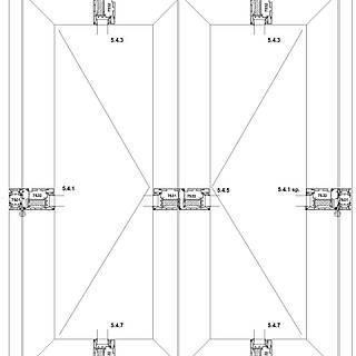 2-flügelige nach außen öffnende Tür mit durchgehender Schwelle