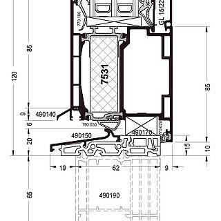 Festverglasung Seitenteil Fußpunkt mit Türflügel 7531 und Schwelle 490150