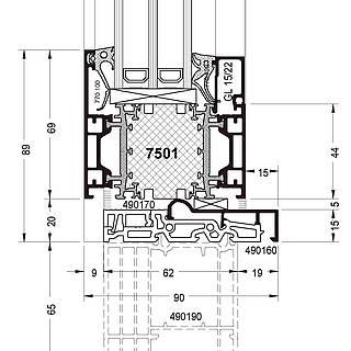 Festverglasung Seitenteil Fußpunkt mit Rahmen 7501 und Schwelle 490160