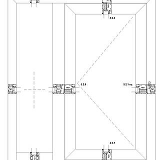 1-flügelige nach innen öffnende Tür mit Rahmen 7511 unten im Seitenteil, Schwelle falzverschraubt