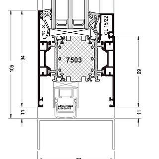 Türflügel nach außen öffnend, Sockel 7503 stumpf, autom. Bodendichtung