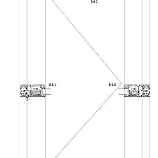1-flügelige nach außen öffnende Tür mit VA-Kantteil-Schwelle und autom. Bodendichtung, Sockel 7534 stump