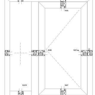 1-flügelige nach innen öffnende Tür mit Rahmen 9011 unten im Seitenteil, durchgehende Schwelle
