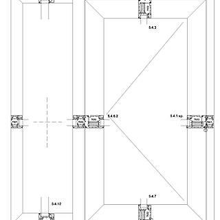 1-flügelige nach außen öffnende Tür mit Rahmen 7501 unten im Seitenteil, Schwelle falzverschraubt