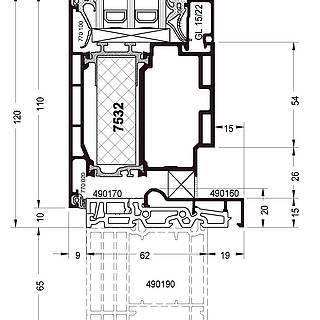 Festverglasung Seitenteil Fußpunkt mit Türflügel 7532 und Schwelle 490160