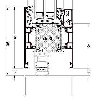 Türflügel nach innen öffnend, Sockel 7503 stumpf, autom. Bodendichtung
