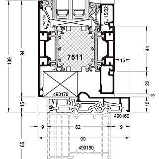 Festverglasung Seitenteil Fußpunkt mit Pfosten 7511 und Schwelle 490160