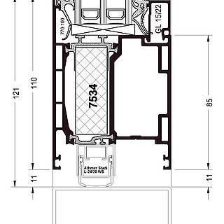 Türflügel nach außen öffnend, Sockel 7534 stumpf, autom. Bodendichtung