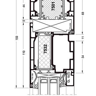 Festverglasung Seitenteil Kopfpunkt mit Türflügel 7532