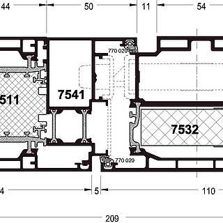 Wechselprofil 7541 für Türflügel nach außen öffnend, Schloßseite