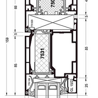Festverglasung Seitenteil Kopfpunkt mit Türflügel 7531